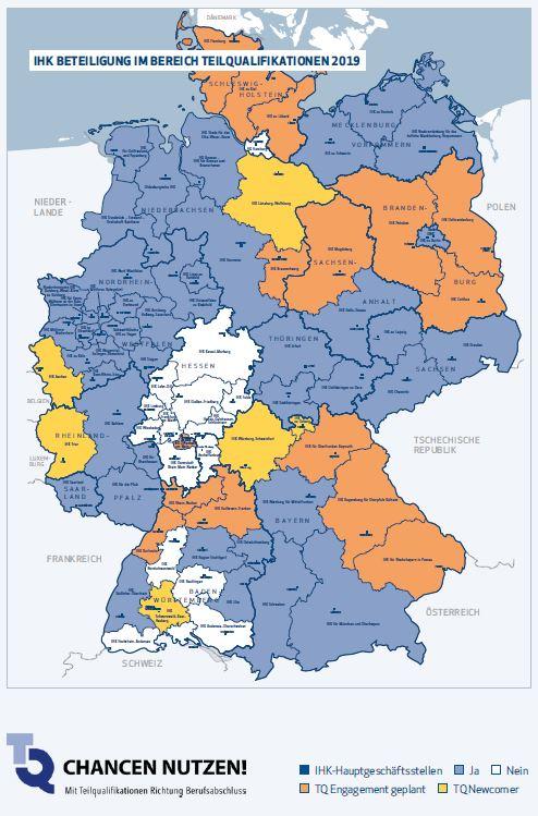 Deutschlandkarte mit Abdeckung der Beteiligung an Teilqualifikationen